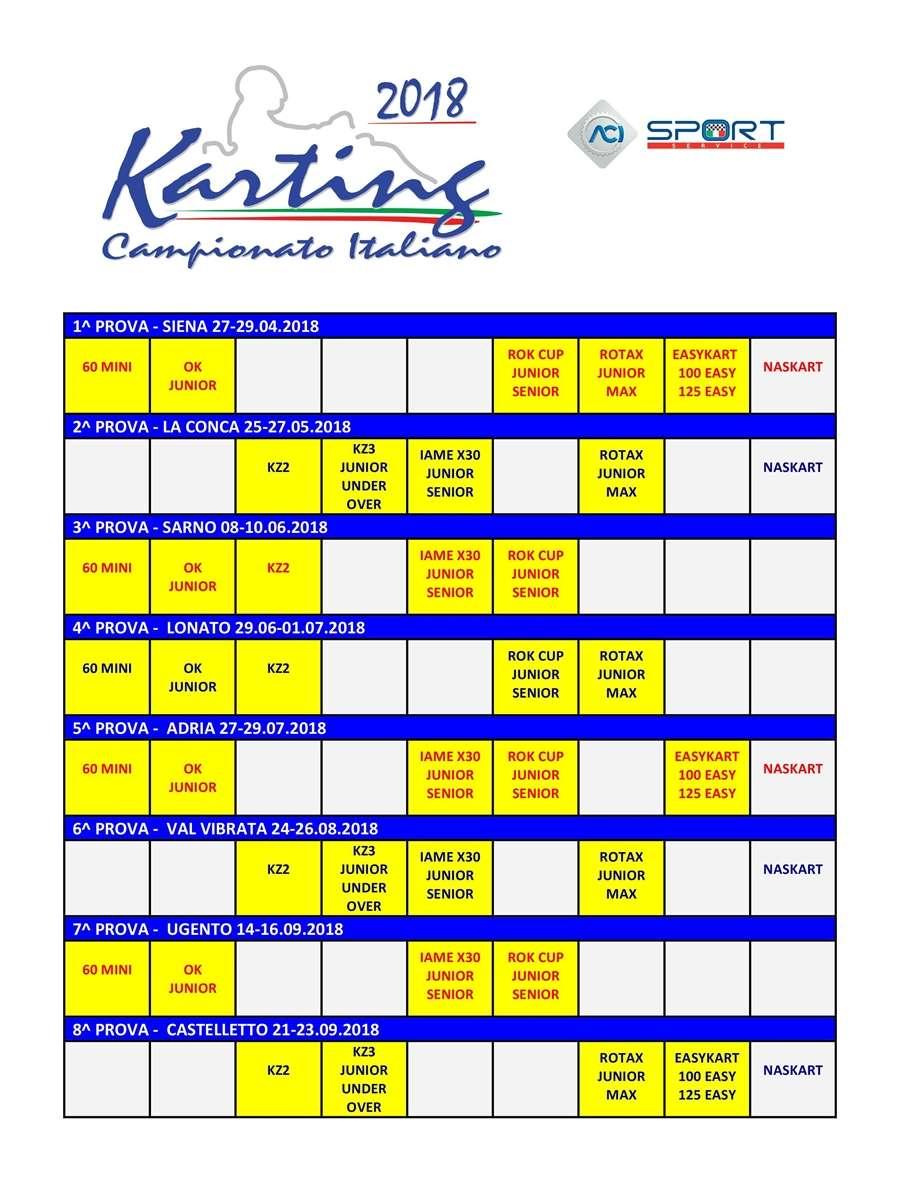 Calendario Campionato Italiano Karting 2018 CSAI