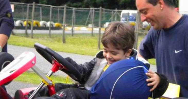Davide Marconato la prima volta su un Go-kart